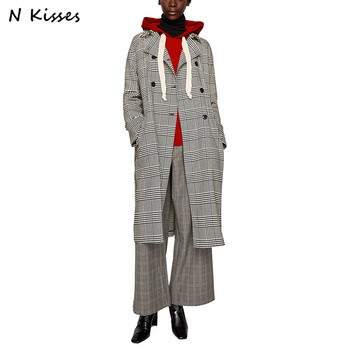 Nkisses 2017 Autumn Houndstooth Long Women Trench Slim Epaulet Belt Turn Down Collar Full Sleeve Double Breasted Outerwear Coats