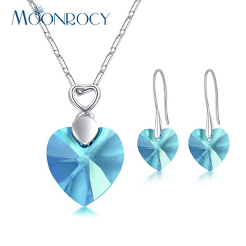 MOONROCY Silver Color Fashion Heart Blue Pink Crystal Necklace and Earrings Jewelry Set Wholesale for Women Drop Shipping
