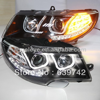 Skoda Superb için LED U Tarzı Angel Eyes Far Bi Xenon Projektör Lens 2009-2013 yıl LD ile