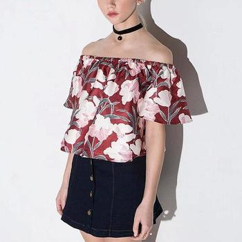 Summer women crop top printed Off Shoulder Short Tops and chiffon casual shirt blouse