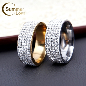Fashion 5 Row Crytral Zircon Rings Jewelry For Men And Women Gold Silver Stainless Steel Wedding Rings Men's Ring Bague Gifts