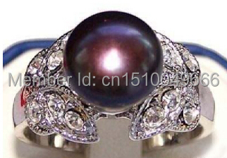 >>>>>Real Black Pearl 18KWGP Crystal Butterfly Rings size: 7. 8. 9