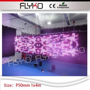 4ft height x 14ft length video led curtain P5 led screen club decoration