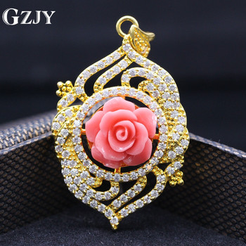 GZJY Classic Style Rose Coral Zircon Crystal Gold Color Pendant Necklace High-end Jewelry Women's Birtyday Gifts