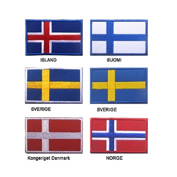 100pcs/lot 3D embroidery Iceland/Finland Flag patch Norway/Nordic Countries flag patch Badges Denmark/Sweden flag pacthes