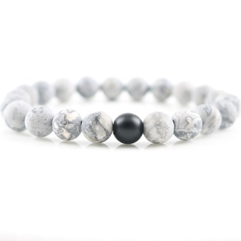 Matte Grey Beads Black Onyx with A Grade Natural Stone Beaded Lucky Energy Strand Bracelets