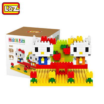 LOZ Diamant Blocs Kitty çift mini sahne Kitty Sohbet Drole Action Figure L'education de BRICOLAGE Blocs de Inşaat 9407