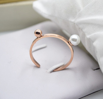 YUN RUO Brand Fashion Adjustale Pearl Rings 316L Titanium Steel Rose gold Color Woman Man Ring Jewelry Hot Sell
