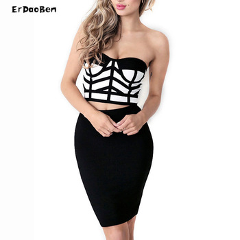 Yüksek qualityfemale siyah ve beyaz spagetti kayışı fermuar geri bandaj mini dress kulübü giyim seksi kolsuz bodycon dress dr594